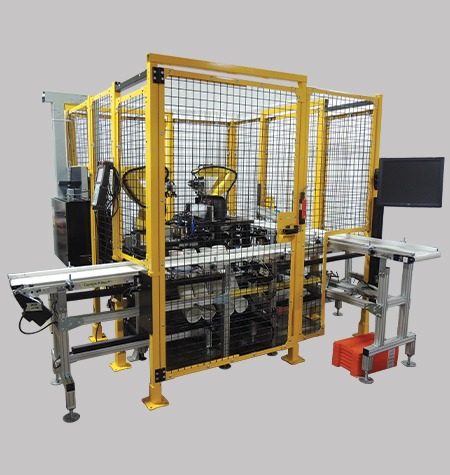 Spool vale inspection and indexing system utilizing Fanuc LR Mate 200iD robots, vision systems and automation. Metrology Automation Integration