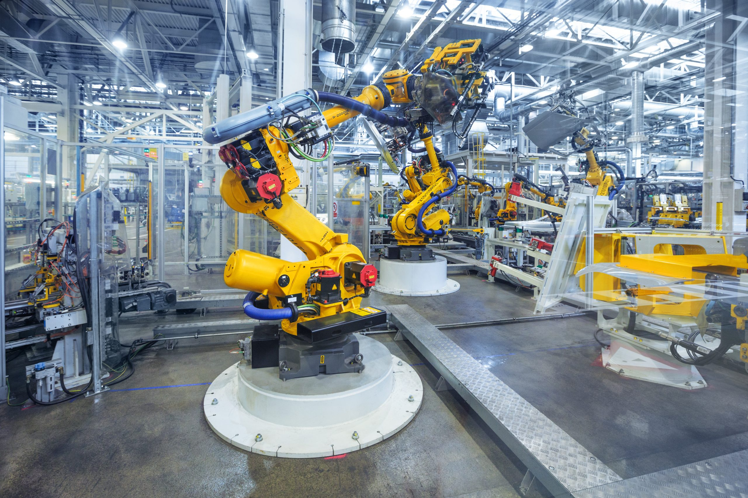 Robotic Arm for Automotive Industry Works in Large Facility